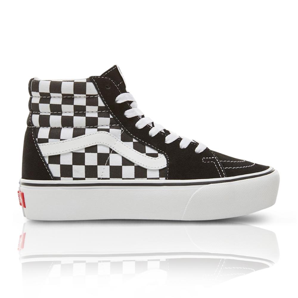 d7b5a47a0c6 Vans Women s Suede Checkerboard SK8-HI Platform 2.0 Black White Sneaker