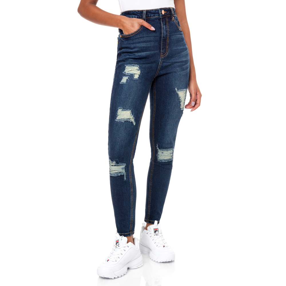 674e68a583f Redbat Women s Dark Wash Kenya Ripped High Rise Super Skinny Jeans