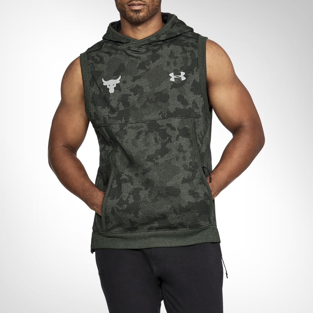 the latest f8650 66416 Mens Under Armour Project Rock Threadborne Fleece Sleeveless Hoodie