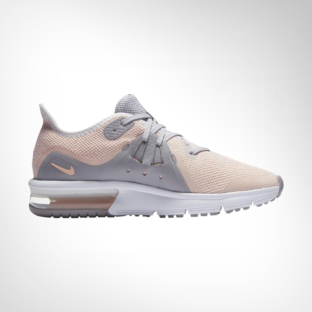 fc8bc30eaa Junior Grade School Nike Air Max Sequent 3 Pink/Grey Shoe. 139260AABN8