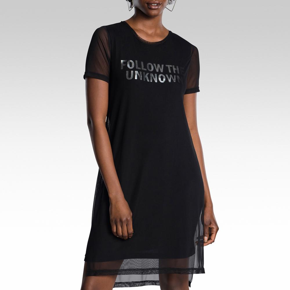 4771f138d6 Black Mesh Overlay T-shirt Dress. 170711AAAS3