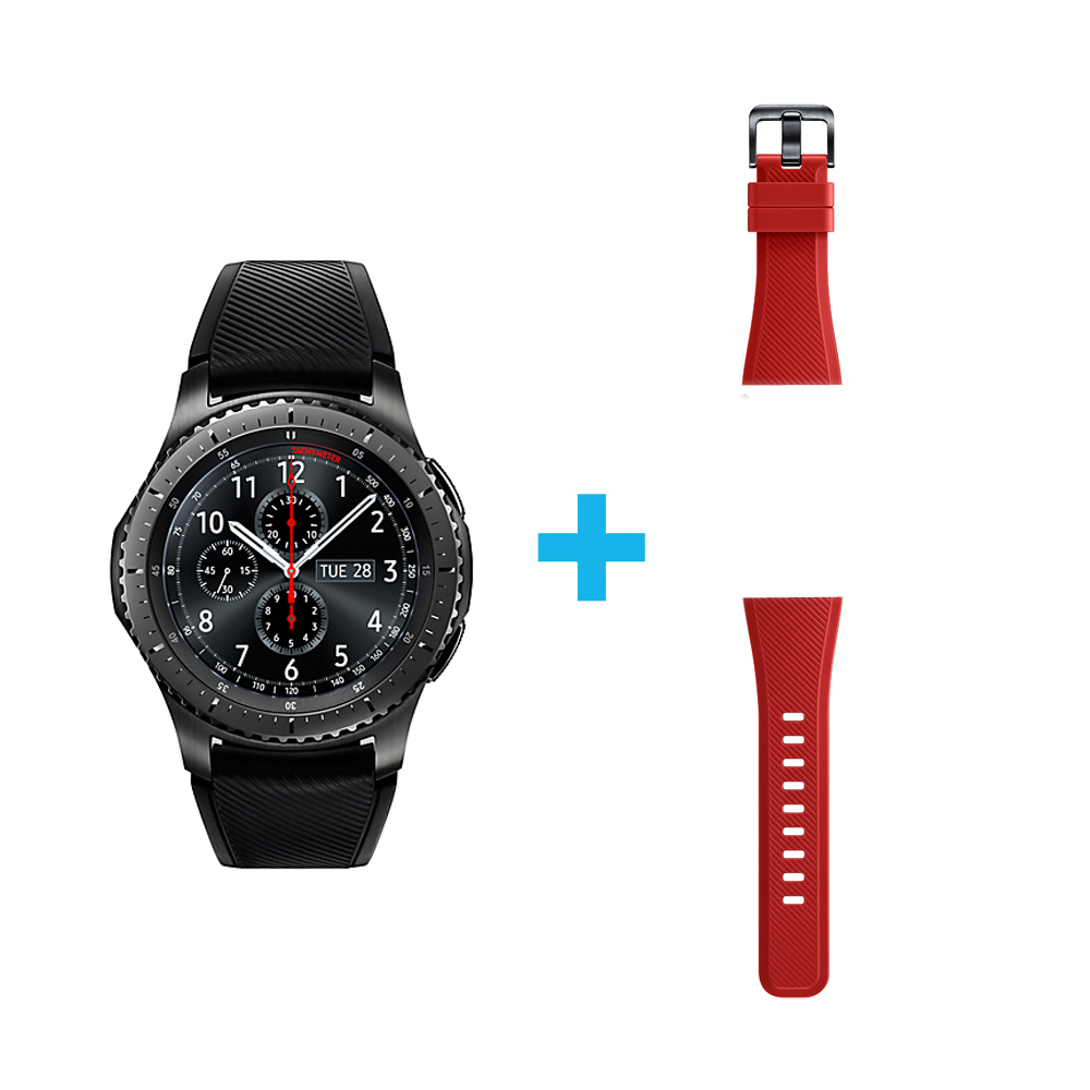 Samsung Gear S3 Frontier Free Red Silicone Strap Double Side Only