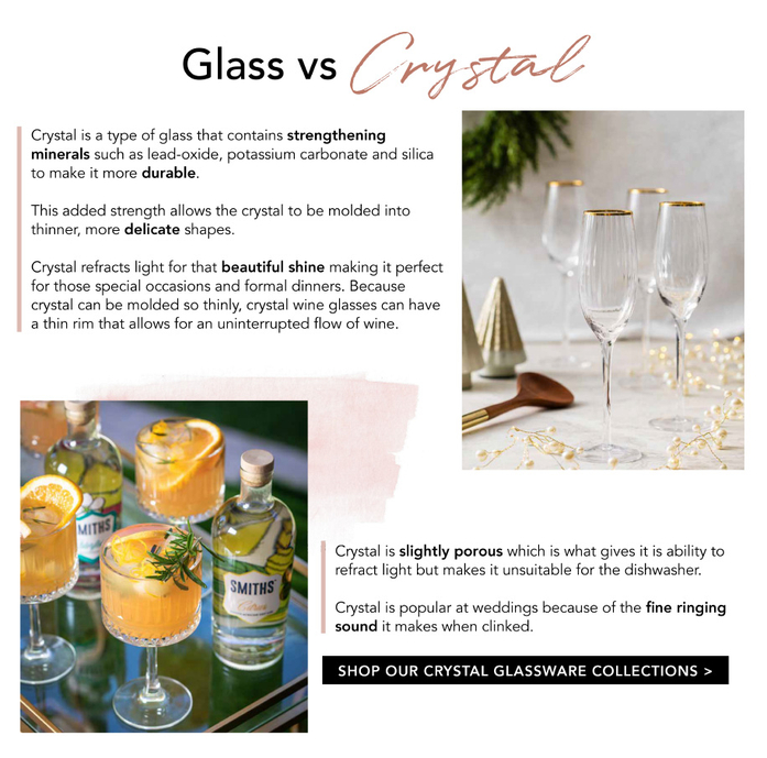 Glass vs Crystal. SHOP OUR CRYSTAL GLASSWARE COLLECTIONS