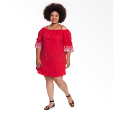 Plus Size | Dress with Embroidered Sleeve Detail