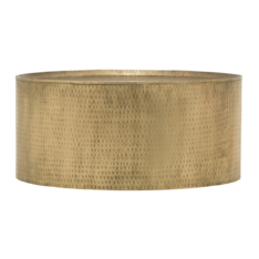 hand beaten cylinder coffee table brass. Black Bedroom Furniture Sets. Home Design Ideas