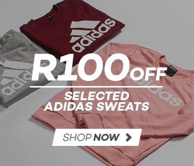 R100 off selected Men's & Ladies adidas Sweats