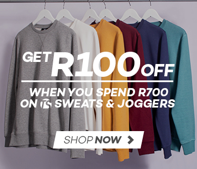 Spend R700, Save R100 on selected TS Sweats and Joggers