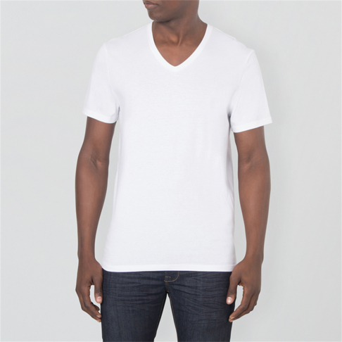 61f6c5b6bc80d Buy White Basic V-Neck T-Shirt | Shop Men's Plain Tees | Markham