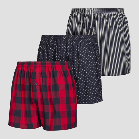 a3ea99eb9be6 3 Pack Check and Anchor Print Woven Boxers