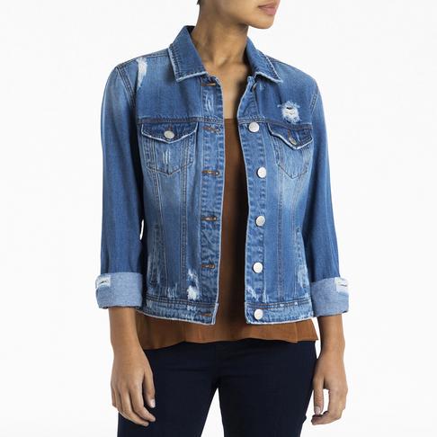 f0d923bd444 Women's Dark Wash Ripped Denim Jacket