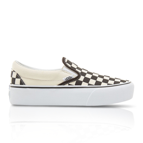 c767da43795 Vans Women s Classics Checkerboard Slip-On Platform Brown Cream Sneaker