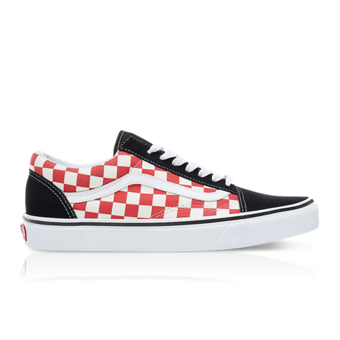 02d826f0af9 Vans Men s Old Skool Checkerboard Black Red Sneaker