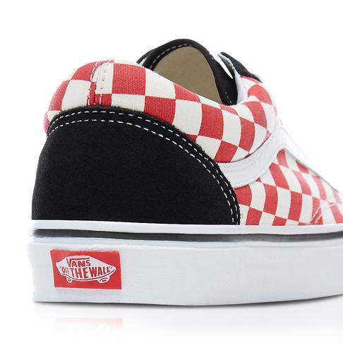 f72fc423bce Vans Men s Old Skool Checkerboard Black Red Sneaker