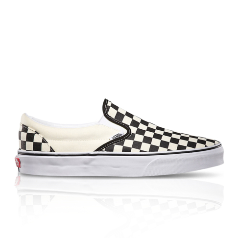 89735cb56c2 Vans Men s Classic Checkerboard Slip-On Black White Sneaker