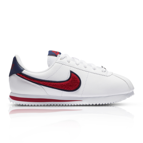 detailed look 8104f 5b9af Nike Junior Cortez Basic Leather SE White Red Sneaker
