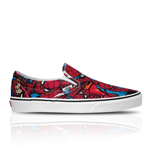 76e97dc411 Vans x Marvel Men s Classic Slip-On Spiderman Red Sneaker