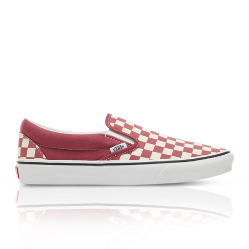 8a7b29e5862c Vans Men s Color Theory Checkerboard Classic Slip-On Red White Sneaker