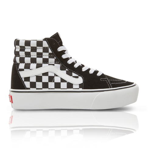 a11304db8dbd Vans Women s Suede Checkerboard SK8-HI Platform 2.0 Black White Sneaker
