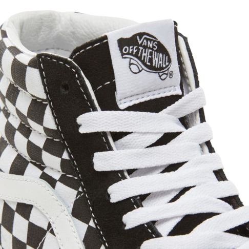 528f656cabd8 Vans Women s Suede Checkerboard SK8-HI Platform 2.0 Black White Sneaker