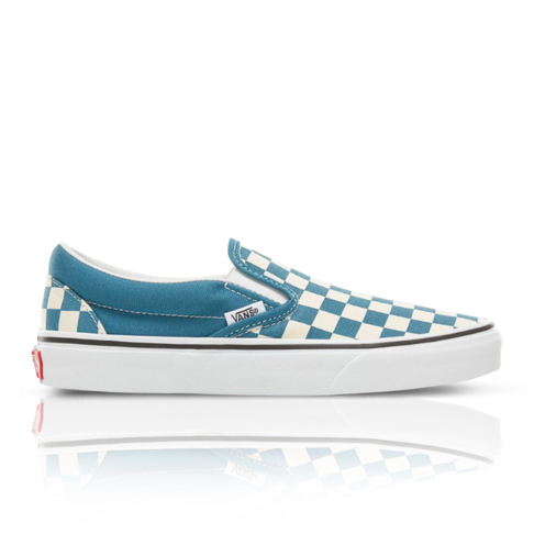 e4437cddcc8246 Vans Junior Color Theory Checkerboard Classic Slip-On White Blue Sneaker