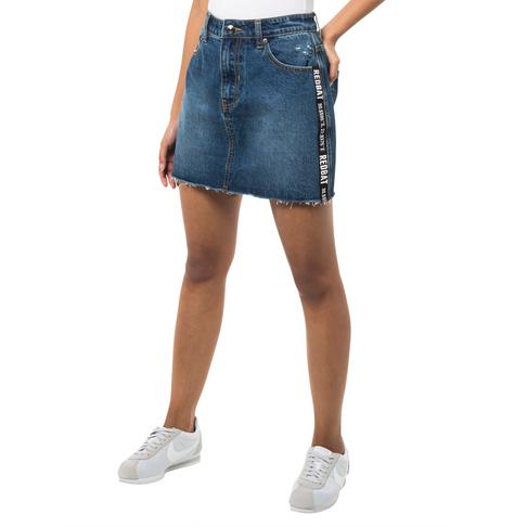 3b394ddcec Redbat Women's Blue Dark Wash Tape Detail Denim Skirt