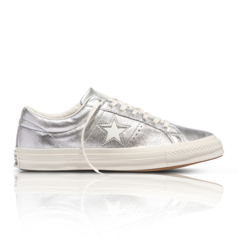 Converse Women s One Star Metallic Silver Leather Sneaker 0daca26eec