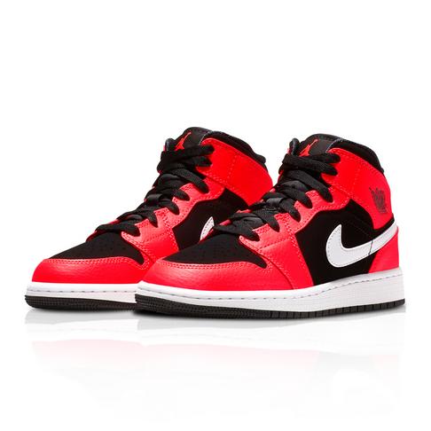 new concept 7e19e 8eb05 Air Jordan Junior 1 Mid Red Black Sneaker