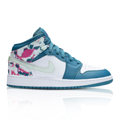 edaca1736 Air Jordan Junior 1 Mid Blue White Sneaker