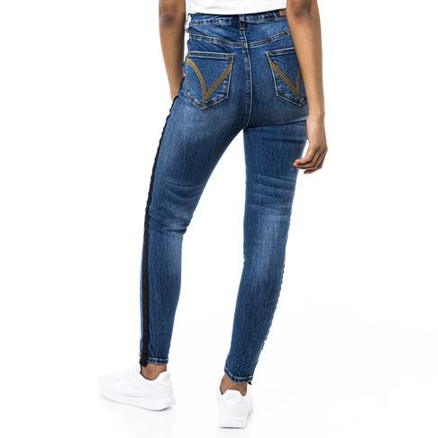 db97e1e6e9b Redbat Women s Blue Medium Wash Tape Detail High Waisted Skinny Jeans