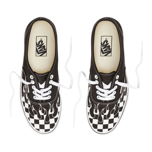 Vans Men s Checker Flame Authentic Black White Sneaker a5c74887a