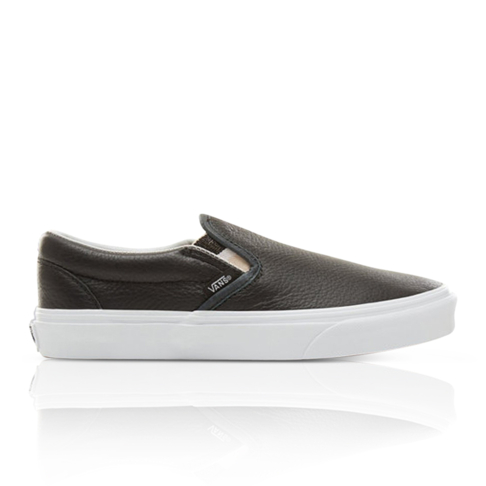 Vans Women s Classic Slip-On Leather Black Sneaker 0372ab5b0