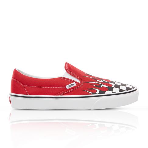 2bb3b65498 Vans Junior Checker Flame Classic Slip-On Red Sneaker