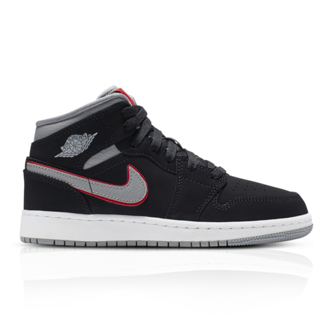 cfe10236f Air Jordan Junior 1 Mid Black Grey Sneaker