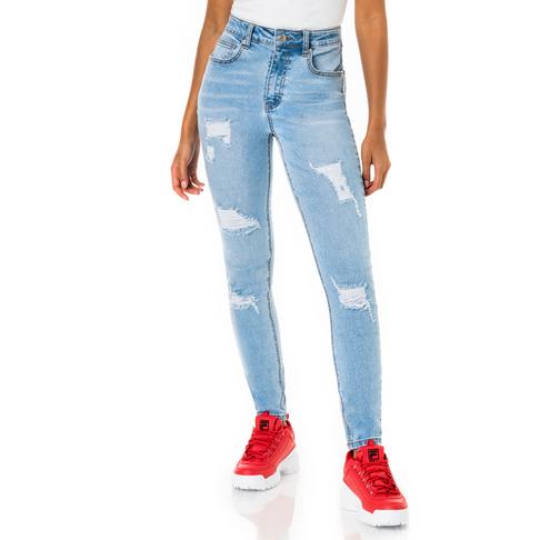fb93e755bda0 Redbat Women's Light Wash Ripped High Rise Super Skinny Jeans