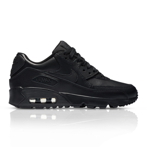 check out 3797b 0fb9c Nike Junior Air Max 90 Black Leather Sneaker