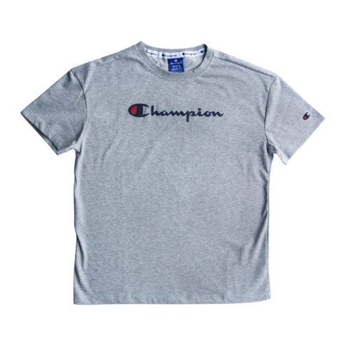 908b6098 Champion Women's Grey Melange Front Printed Logo Crew Neck T-Shirt