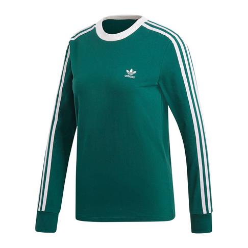 16ad0b9c4c1 adidas Originals Women's Green 3 Stripe Long Sleeve T-Shirt