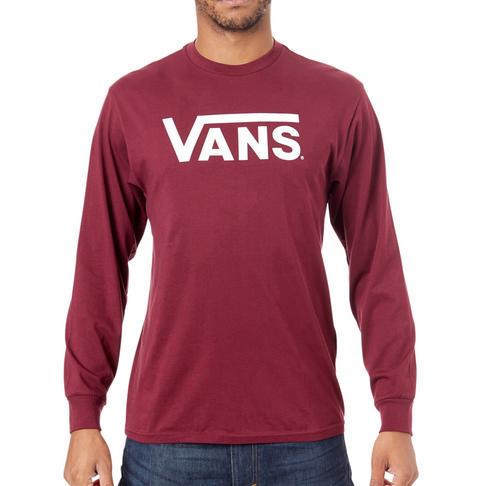 9c53cfb3b11a Vans Men s Burgundy White Classic Long Sleeve T-Shirt