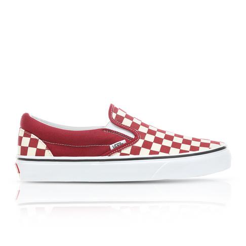003cb76a Vans Men's Classic Slip-On Checkerboard Red Sneaker