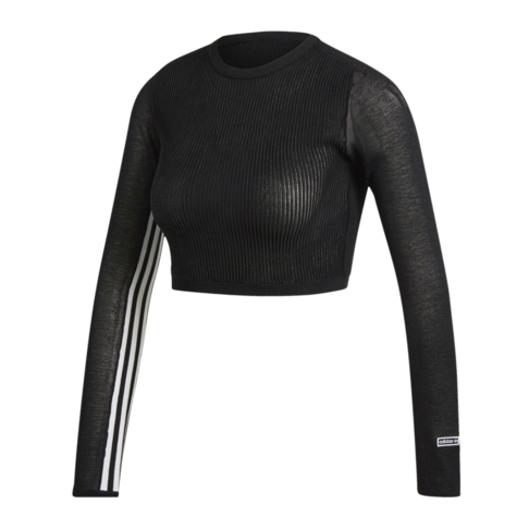 0c9fab48a adidas Originals Women's Black Cropped Long Sleeve T-Shirt