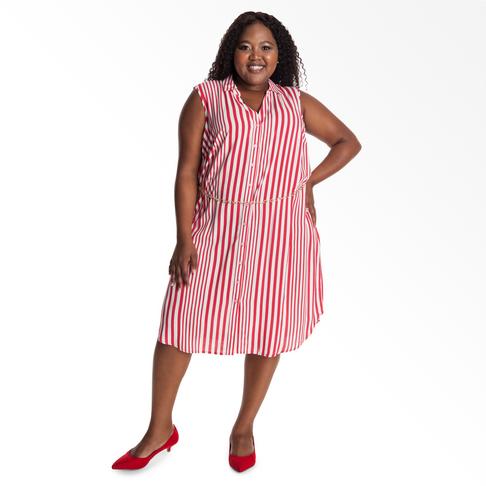 48964648e Plus Size | Striped Button Through Shirt Dress