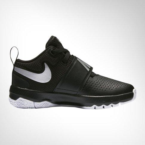 b3b4ab0655fe Junior Pre School Nike Team Hustle D8 Black Silver White Shoe