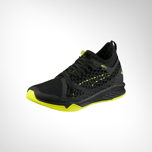 5a77636504d8 Women s Puma Ignite Netfit XT Black Yellow Shoe
