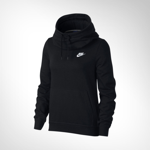new product 28a85 32e83 Women s Nike Sportswear Funnel-Neck Black Hoodie