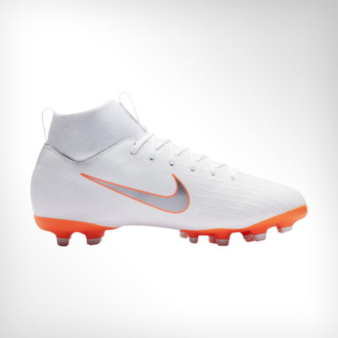 87234b52262b Junior Nike Superfly 6 Academy MG White Grey Orange Boot