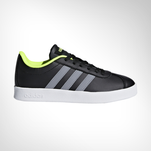 225cf483f026 Junior Grade School adidas VL Court 2.0 Black Lime Shoe