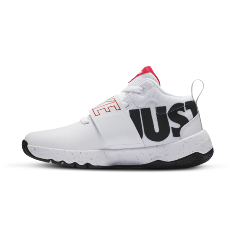 newest ae2f3 38489 Junior Grade School Nike Team Hustle D8 JDI White Black Red Shoe