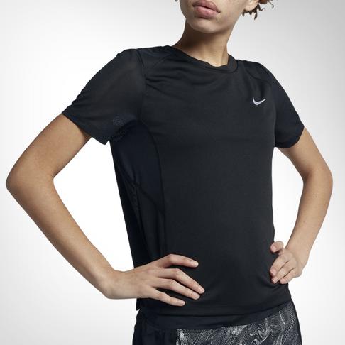 the latest 69868 57fea Women s Nike Miler Short-Sleeve Black Running Top