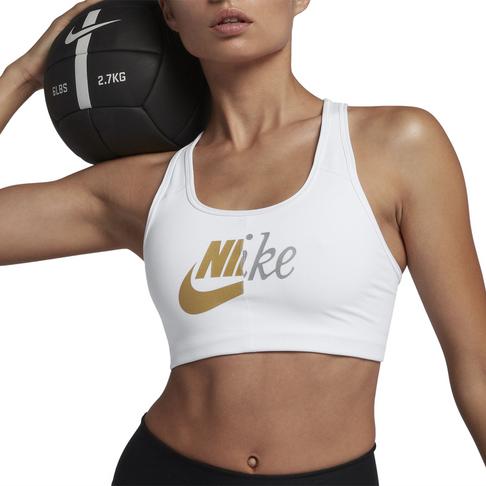 2262f22281 Nike Swoosh Medium Support Metallic Futura White Sports Bra
