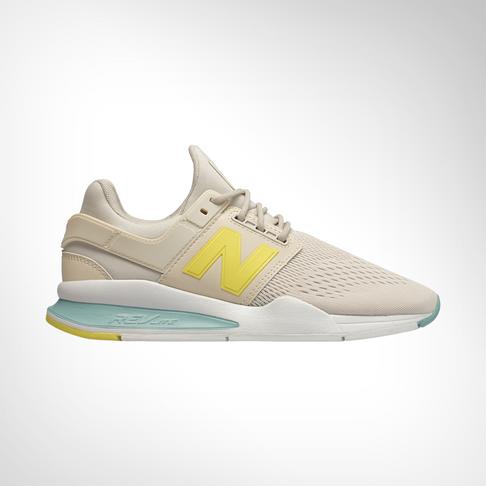 wholesale dealer a0e3f 772d6 Women s New Balance 247 Tritum Beige Turquoise Yellow Shoe